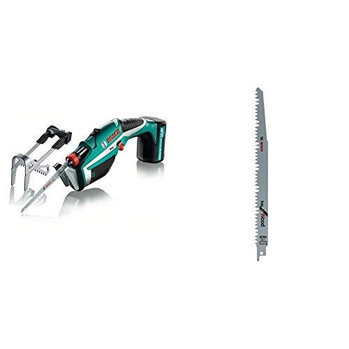 Bosch Keo - Sierra de poda a batería, hoja de sierra para madera, cargador de 3 horas + Bosch 2 608 650 676 Hojas de Sierra Sable S 1531 L, Gris, Set de 5 Piezas