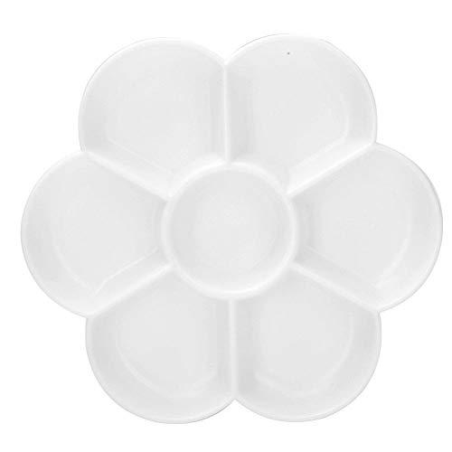 7 agujeros imitación cerámica paleta en forma de ciruela arte dibujo pintura bandeja aceite acuarela pinturas acrílicas sosteniendo para artistas finos artesanos(Blanco)