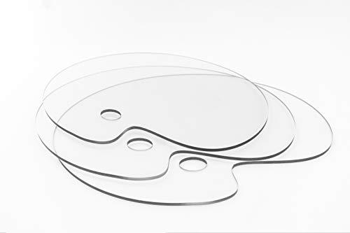 Paleta mezcladora ovalada 30×40cm | 3unidades | clara transparente acuarela gouache DIY acrílico paleta para pintar arte paleta artística óleo paleta mezcladora colores