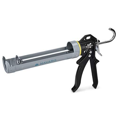 Navaris pistola selladora de aluminio - Pistola metálica de silicona - Pistola profesional de calafateo - Para cartuchos de 310ML