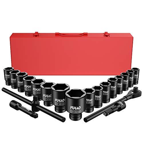 Anbull Juego de llaves de impacto Jumbo de 3/4 pulgadas, 21 piezas, surtido de zócalos poco profundos, 6 puntos estándar tamaños métricos (21-50 mm)   acero Cr-V