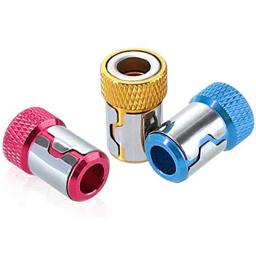 Gasea 3Pcs Destornillador Magnético Anillo, Anillo de Imán de Destornillador Antideslizante Accesorios de Aleación de Aluminio para Brocas de Vástago de 1/4
