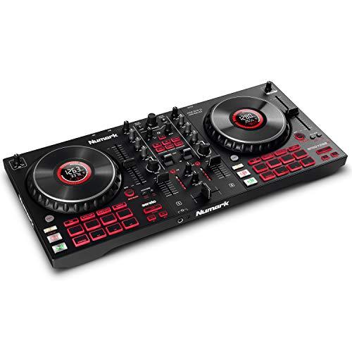 Numark Mixtrack Platinum FX - Controlador DJ para Serato DJ con control de 4 secciones, mezclador DJ, interfaz de audio incorporada, pantallas en las ruedas de selección y paletas de efectos