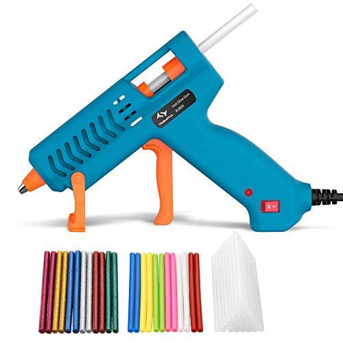 Pistola de Silicona Caliente 60W Tilswall, Pistola de Pegamento con 60pcs Barras de Diferentes Colores, Pistola Manualidades para Bricolaje, Arte, Empaques,Reparaciones en hogar,Oficina y Escuela
