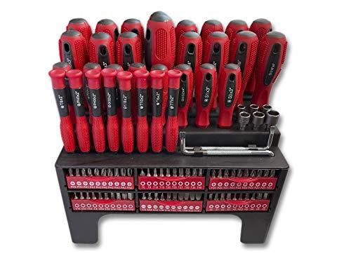 100 pc Juego de Destornilladores magnéticos con soporte organizador. Conjunto puntas destornillador de precisión profesionales para su taller.