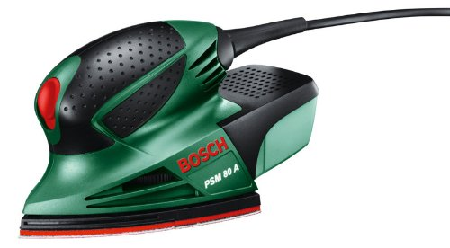 Bosch PSM 80 A - Multilijadora, 3 hojas de lija RedWood, con maletín (80 W, nº carreras en vacío: 20.000 min-1, Ø circuito oscilante: 1,4 mm)
