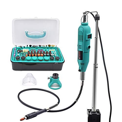GOXAWEE Mini Amoladora Eléctrica Multiherramienta con Brazo Telescópico / Tabla de Abrazadera 288 Accesorios Kit, Herramientas Rotatorias Multifunción, Velocidad Variable para Artesanías y Manualidad