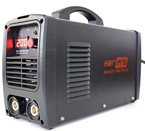 HERPRO Soldador Inverter Profesional IGBT 200 Amperios para soldadura por arco MMA - 60% Factor De Marcha y 3 Placas PCB Para un Alto Rendimiento