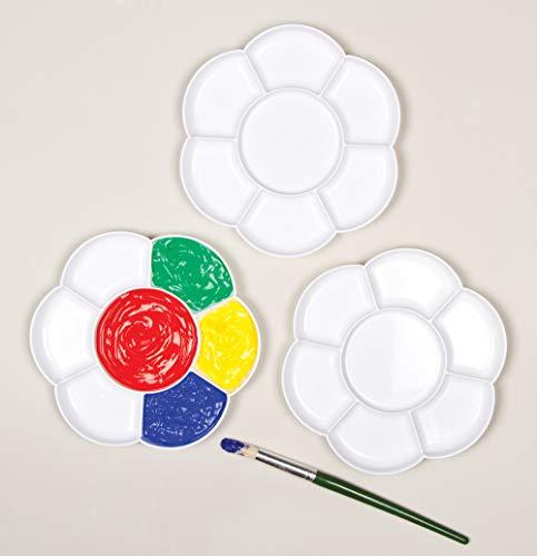 Baker Ross Paletas de plástico para pintura en forma de flor con 7 pocillos para proyectos de pintura, artes y manualidades infantiles (pack de 3) Multicolor (AF994)