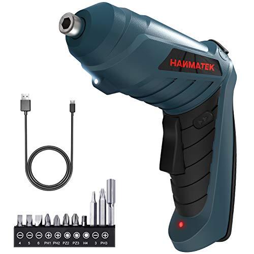 Atornillador Eléctrico 3N.m, HANMATEK Destornillador Eléctrico, 11 Accesorios, El mango se puede girar (90 ° -180 °) , Luz LED, Carga Cable USB, Taladros Atornilladores
