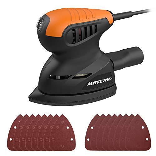 Lijadora Eléctrica, Meterk 13500 RPM Máquina para Pulir Masilla de Lijado de Pared 16pcs Sandpapers Sistema de Recolección de Polvo Lijadora Mouse para Madera