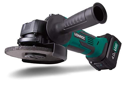 VONROC Amoladora angular inalámbrica 20V, 115mm - juego completo que incluye 1x batería de 4.0Ah, cargador rápido, asa lateral y bolsa de herramientas