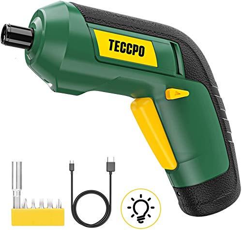 Atornillador Eléctrico, TECCPO Destornillador Inalámbrico 3.6V, Par Máximo de 4 Nm, LED Luz, 2.0Ah, Talla Pequeña, Carga USB con cable, 6 Pcs Varios brocas, Indicador de carga-TDSC03P