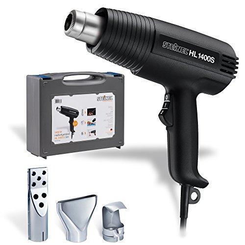 Steinel Heißluft-soplador HL 1400 S en el conjunto incluido valija y 3 boquillas, pistola de aire caliente con 1400 vatios, 300/500 ° C, 240/450 l/min, ideal pistola de calor como accesorios Grill, para secar, soldar y la contracción, 013639
