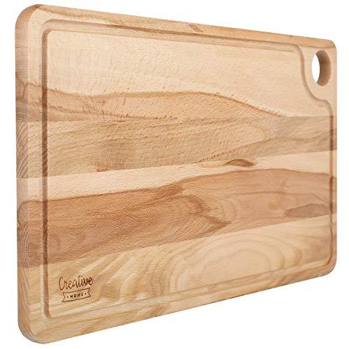 Creative Home Tabla de Cortar de Madera Grande | 42 x 24,5 x 1,5 cm | Mesa de Corte con Ranura para Jugo | Madera de Haya Natural | Reversible | Gran Accesorio para Cualquier Cocina