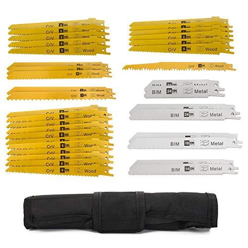 Juego de hojas de sierra de sable para madera, metal y plástico, 36 piezas, con bolso de mano (36 unidades) compatible con sierras comunes