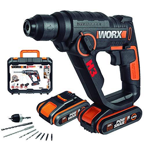Worx WX390.1 Martillo Atornillador, 20 W, 20 V, Negro, Única