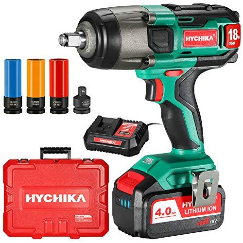 Llave de Impacto, HYCHIKA 350Nm Atornillador Impacto 18V con 4,0 Ah Batería, Impacto Eléctrico con 3pcs Vasos de Impacto Profundo 17, 19, 21 mm, Mandril de 13 mm, 1 Adaptador, con Caja