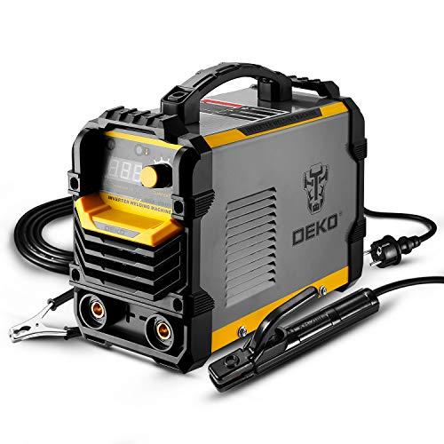 DEKO Soldador MMA de 220 V, soporte de electrodo de máquina de soldador de arco 200A, abrazadera de trabajo, cable adaptador de alimentación de entrada y cepillo