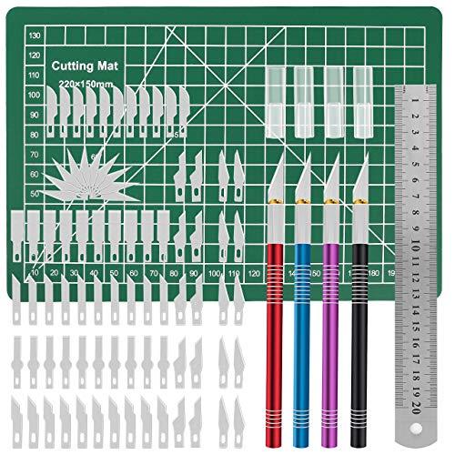 Gafild Hobby Knife, 86pcs cuchillos artesanales de acero inoxidable Cúter Carving Craft Escalpelo Bisturí para Manualidades incluye 4 asas y 80 hojas 1 Alfombrilla de Corte 1 regla de acero