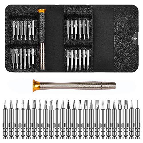 DAZAKA Juego de Destornilladores Mini Precisión 25 en 1 Herramientas Desmontar Kit de Reparación para Smartphone, PC, Cámara, Reloj, Tablet PC, Gafas
