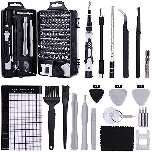 UIHOL 126 en 1 Juego de Destornilladores de Precisión con Magnetizador, Kit de Herramientas Precision de Reparación de Bricolaje Profesional para iPhones, Reloj, Tablet PC, MacBook, Cámara, Negro