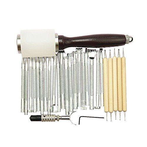 JIAN YA NA 27 unids/set manual de cuero artesanía talla sello martillo grabado biselador herramientas kit