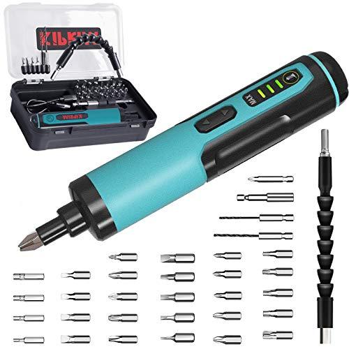 Atornillador Eléctrico, Kiprim Destornillador Inalámbrico Recargable de 33 puntas, Atornillar y Destornillar Tornillos, USB y LED, Mini Destornillador con Batería de 1,3 Ah, 4 Nm y 10 Nm