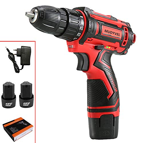Destornillador Eléctrico 12v Taladro Inalámbrico Herramientas LED Luz, Velocidad ajustable Atornillador (12V 2 Battery)