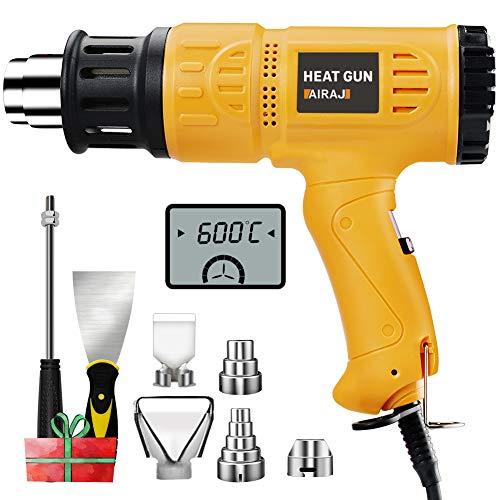 AIRAJ1800W Pistola de calor,kit de pistola de aire caliente de temperatura variable 50 ℃ - 600 ℃,Adecuado para quitar pintura,descongelar tuberías,encoger PVC y más mejoras para el hogar de bricolaje.