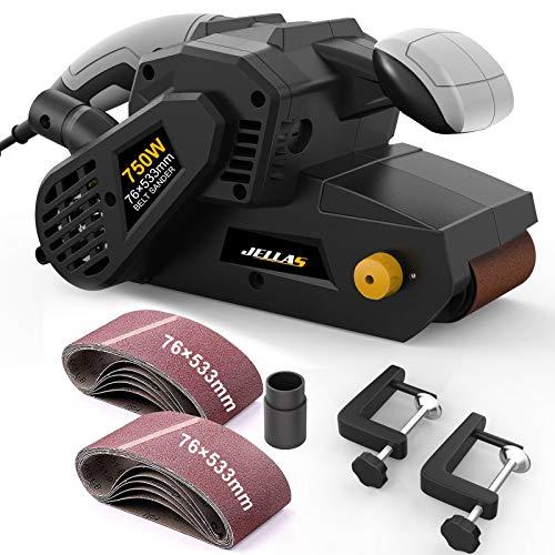 Lijadora de Banda Jellas, 750W Lijadora Eléctrica con 10 76 x 533mm bandas lija, Control de Velocidad Variable, Adaptador para Aspiradora 2 en 1 y Bolsa guardapolvo, BS02