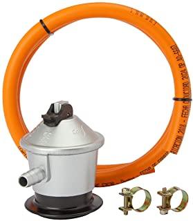 MIRTUX Kit de Conexión para Gas Butano o Propano: Regulador 30 mbar grs, Tubo Goma Naranja de 1,5 Metros y 2 Arandelas para Sujetar. Fácil instalación.